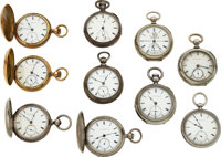 Ten New York Watch Co. Key Winds, Including No. 4819 Early Homer Foot KWKS From The Back ... (Total: 10 Items)