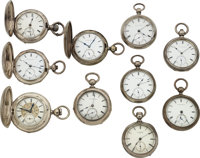 Ten New York Watch Co., Homer Foot, J.A. Briggs, Rare No. Model Name Back Wind & Set Watches, Seven Others Inclu...