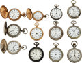 Timepieces:Pocket (pre 1900) , Twelve Independent Watch Co., Two Mark Twains, E.S. Gates, F.W. Howard, Two Fifth Pinion Models, Nickel Independent, An 8 size... (Total: 12 Items)