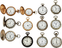 Twelve Independent Watch Co., Two Mark Twains, E.S. Gates, F.W. Howard, Two Fifth Pinion Models, Nickel Independent, An...