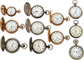 Timepieces:Pocket (pre 1900) , Eleven Lancaster Watch Co. Pocket Watches C...