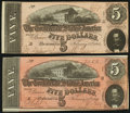 Confederate Notes:1864 Issues, T69 $5 1864 Two Examples About Uncirculated or Better.. ... (Total: 2 notes)