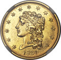 Classic Quarter Eagles, 1834 $2 1/2 MS61 NGC. Small Head, Breen-6138, Variety 1, R.1....