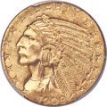 Indian Half Eagles, 1909-D $5 -- Two Dropped Letters -- MS64 PCGS....