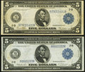 Large Size:Federal Reserve Notes, Fr. 850 $5 1914 Federal Reserve Note Fine-Very Fine;. Fr. 851a $5 1914 Federal Reserve Note Fine-Very Fine.. ... (Total: 2 notes)