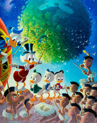 Carl Barks An Astronomical Predicament Signed Limited Edition Lithograph Print #60/345 (Another Rainbow, 1990)