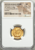 Ancients:Roman Imperial, Ancients: Valentinian II, Western Roman Empire (AD 375-392). AV solidus (20mm, 4.48 gm, 12h). NGC MS 5/5 - 3/5, marks,...