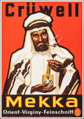 "Movie Posters:Miscellaneous, Crüwell Mekka Tobacco (Gebruder Cruwell-Tabak, c. 1930). Rolled, Very Fine-. German Advertising Poster (23.5"" X 33""). Miscel..."