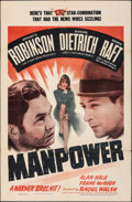 "Movie Posters:Drama, Manpower (Warner Bros., 1941). Folded, Fine/Very Fine. One Sheet (27"" X 41""). Drama.. ..."