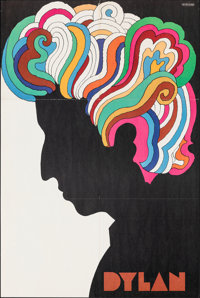 "Bob Dylan by Glaser (CBS Records, 1966) Folded, Very Fine-. Album Poster (22"" X 33""). Milton Glaser Artwork. R..."