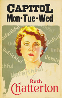 """Unfaithful (Paramount, 1931). Window Card (14"""" X 22""""). A socially prominent wife, Ruth Chatterton, must choose..."""