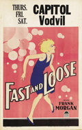 "Movie Posters:Comedy, Fast and Loose (Paramount, 1930). Window Card (14"" X 22""). This wasthe film in which Paramount contract starlet Carol Lomba..."