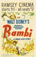 "Movie Posters:Animated, Bambi (RKO, 1942). Window Card (14"" X 22""). The last of Disney'sanimated feature films, before World War II forced the stud..."
