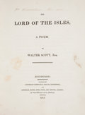 Books:Literature Pre-1900, Walter Scott. The Lord of the Isles. A Poem. Edinburgh: Archibald Constable and Co., 1815. First edition....