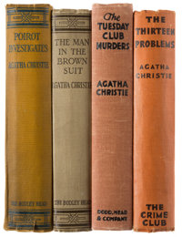 Agatha Christie. Group of Four Mysteries. London and New York: 1924-1933. Three first edition and one first U. S. editio...