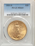 Saint-Gaudens Double Eagles, 1911-S $20 MS64+ PCGS. PCGS Population: (1816/649). NGC Census: (1424/280). CDN: $1,636.27.Whsle. Bid for problem-free NGC/...