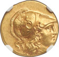 Ancients:Greek, Ancients: MACEDONIAN KINGDOM. Alexander III the Great (336-323 BC). AV stater (18mm, 8.58 gm, 4h). NGC MS 4/5 - 5/5, Fine Style....