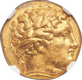 Ancients: MACEDONIAN KINGDOM. Philip II (359-336 BC). AV stater (18mm, 8.57 gm, 3h). NGC MS 5/5 - 3/5, Fine Style