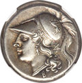 Ancients:Greek, Ancients: CAMPANIA. Cales. Ca. 265-240 BC. AR didrachm (19mm, 7.37 gm, 7h). NGC Choice XF★ 4/5 - 4/5, Fine Style....