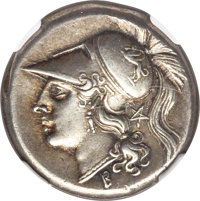 Ancients: CAMPANIA. Cales. Ca. 265-240 BC. AR didrachm (19mm, 7.37 gm, 7h). NGC Choice XF★ 4/5 - 4/5, Fine Style