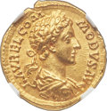 Ancients:Roman Imperial, Ancients: Commodus (AD 177-192). AV aureus (21mm, 7.32 gm, 11h). NGC Choice MS 5/5 - 5/5....