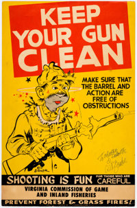 Will Eisner - Signed Gun Safety Poster (Sporting Arms, c. 1950s)