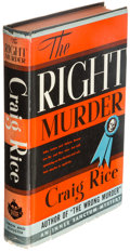 Books:Mystery & Detective Fiction, Craig Rice. The Right Murder. New York: Simon and Schuster, 1941. First edition.. ...