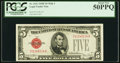 Small Size:Legal Tender Notes, Fr. 1531 $5 1928F Wide I Legal Tender Note. PCGS About New 50PPQ.. ...