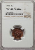 Proof Indian Cents, 1878 1C PR65 Red and Brown Cameo NGC. NGC Census: (10/3). PCGS Population: (16/8)....