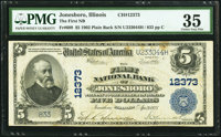 Jonesboro, IL - $5 1902 Plain Back Fr. 609 The First National Bank Ch. # 12373 PMG Choice Very Fine 35