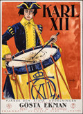"Movie Posters:Foreign, Charles XII (Svenskfilm, 1925). Folded, Very Fine-. Swedish One Sheet (34"" X 46.5"") Hakansson Artwork. Foreign.. ..."