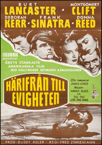"""From Here to Eternity (Columbia, 1953). Very Fine- on Chartex. Full-Bleed Swedish One Sheet (27.25"""" X 39"""") K..."""