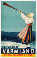 "Movie Posters:Miscellaneous, Värmland, Sweden (1936). Fine/Very Fine on Chartex. Full-Bleed Swedish Travel Poster (24.5"" X 39.25"") Anders Beckman Artwork..."