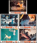 "Movie Posters:Animation, Bambi (Buena Vista, R-1957). Overall: Fine/Very Fine. Lobby Cards (4) & Trimmed Lobby Card (11"" X 14"" & Approx. 10.5"" X 14"")... (Total: 5 Items)"
