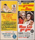 "Movie Posters:Drama, The Female Animal & Other Lot (Universal International, 1958). Folded, Overall: Very Fine-. Australian Daybills (4) (13"" X 3... (Total: 4 Items)"