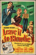 """Movie Posters:Comedy, Leave It to Blondie (Columbia, 1945). Folded, Very Good-. One Sheet (27"""" X 41""""). Comedy.. ..."""