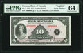 World Currency, Canada Bank of Canada $10 1935 BC-7 Serial Number 8 PMG Choice Uncirculated 64 EPQ.. ...