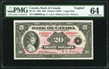 World Currency, Canada Bank of Canada $20 1935 BC-9a Serial Number 8 PMG Choice Uncirculated 64.. ...