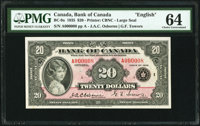 Canada Bank of Canada $20 1935 BC-9a Serial Number 8 PMG Choice Uncirculated 64