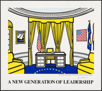 "Oval Office by Roy Lichtenstein (1992). Rolled, Very Fine-. Autographed Art Print (38"" X 34""). Miscellaneous..."