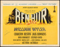 "Ben-Hur (MGM, 1960). Folded, Very Fine-. Autographed Half Sheet (22"" X 28"") Style A, Academy Awards Style. Jos..."