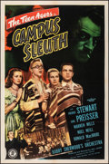 "Movie Posters:Crime, Campus Sleuth (Monogram, 1948). Folded, Overall: Fine/Very Fine. One Sheet (27"" X 41"") & Autographed Half Sheet (22"" X 28"").... (Total: 2 Items)"