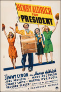 """Movie Posters:Comedy, Henry Aldrich for President & Other Lot (Paramount, 1941). Folded, Fine/Very Fine. One Sheet (27"""" X 41"""") & Lobby Cards (2) (... (Total: 3 Items)"""