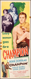"Movie Posters:Sports, Champion (United Artists, 1949). Folded, Fine. Insert (14"" X 36""). Sports.. ..."