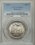 1936 50C Delaware MS64 PCGS. PCGS Population: (1544/2442). NGC Census: (964/1751). MS64. Mintage 20,993