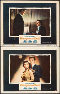 """Strangers on a Train (Warner Bros., 1951). Fine/Very Fine. Lobby Cards (2) (11"""" X 14""""). Hitchcock. ... (Total:..."""