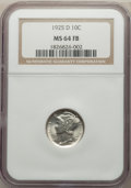 1925-D 10C MS64 Full Bands NGC. NGC Census: (57/31). PCGS Population: (121/68). CDN: $1,525 Whsle. Bid for problem-free...
