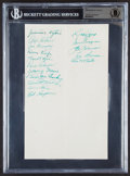 Autographs:Index Cards, 1950 Philadelphia Athletics Multi-Signed Cut Signature, BAS Authentic (16 Signatures)....