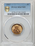 Lincoln Cents, 1927 1C MS67 Red PCGS. PCGS Population: (58/0 and 15/0+). NGC Census: (16/0 and 0/0+). CDN: $1,200 Whsle. Bid for problem-f...