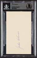 Autographs:Post Cards, 1950 Jackie Robinson Signed Government Postcard, BAS Mint 9....